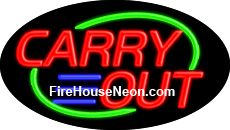 Carry Out neon sign is a great business investment. This bright and colorful business neon sign is made to hang in your business window and will let customers know you are ready to do business day or night. With the pull of a chain you can go from static to flashing for added interest.