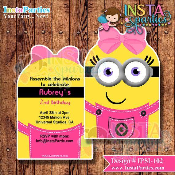 25 Minion Party Invitations Pinterest