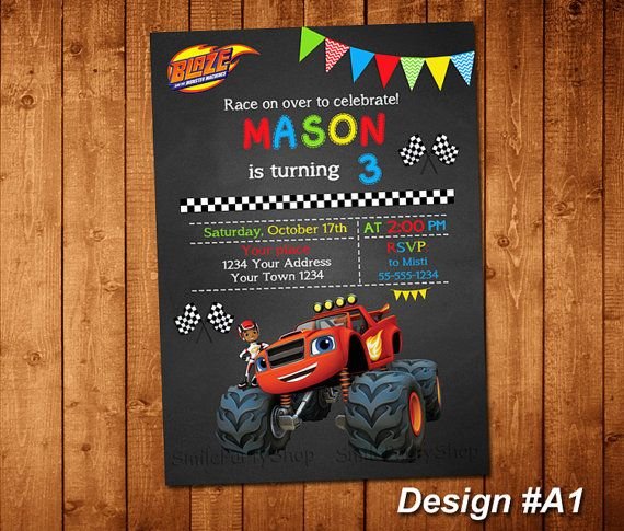 Blaze and the Monster Machines Invitation, PERSONALIZED, Digital File