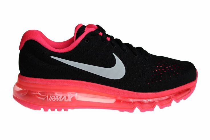 Nike Air Max 2017 (GS) voor meisjes. Uitgebracht in het zwart met knal roze. Deze sneakers kunnen ook gedragen worden door volwassen vrouwen.