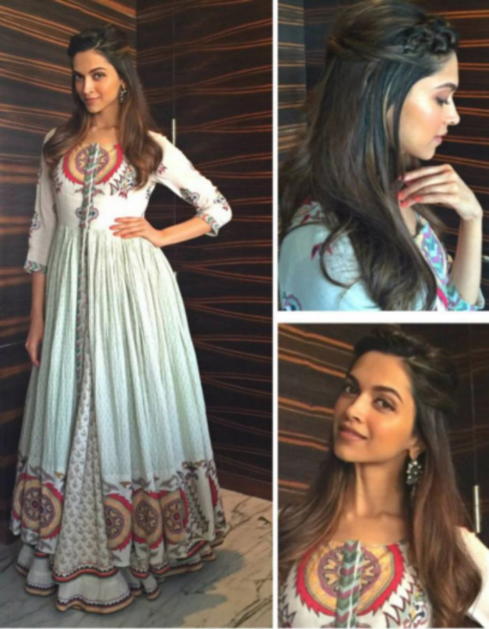 Half Up Half Down Braid Hairstyle | Deepika Padukone in a designer white and red anarkali suit.                                                                                                                                                      More