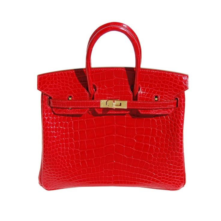 25cm Hermès Shiny Braise Alligator Birkin Bag Handbag