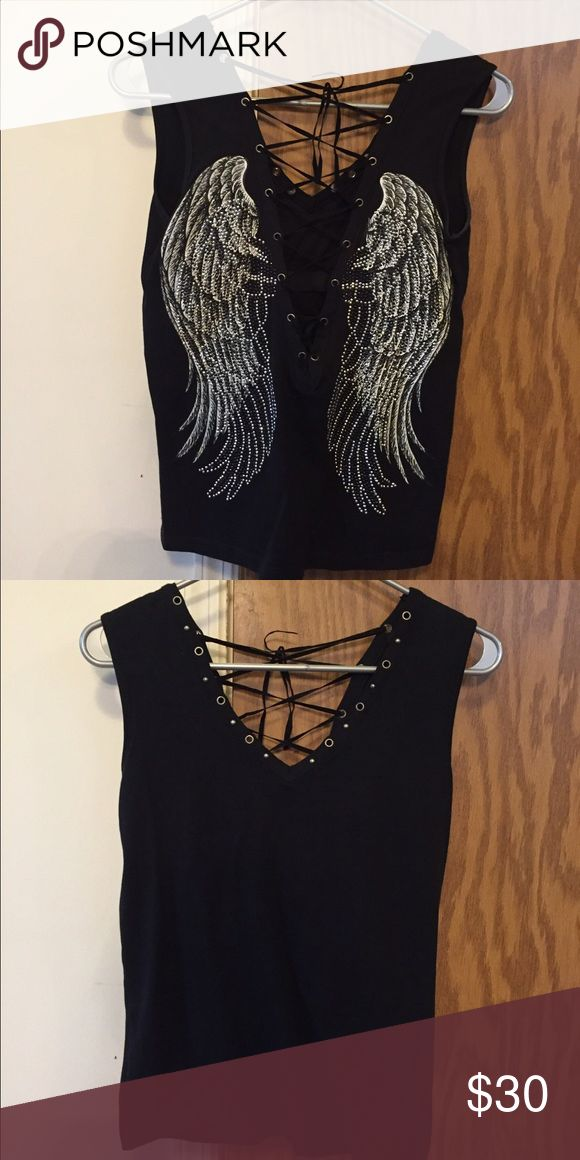 Custom made shirt rhinestone wings/lace up detail Beautiful shirt, rhinestone wings on the back and lace up details make this shirt one of a kind Tops Tank Tops