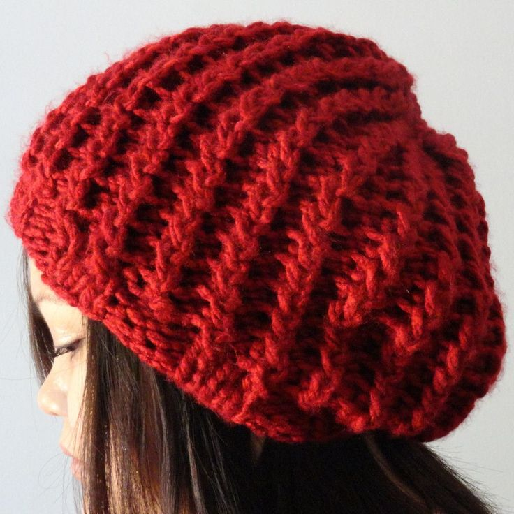 Free Knit Slouch Hat Pattern : Rickrack Rib Slouchy Hat Purl Avenue KNITTING - Hats & Headbands Pint...