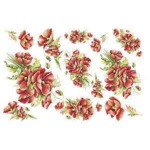 Decoupage estampada papel de arroz (papoilas vermelhas)
