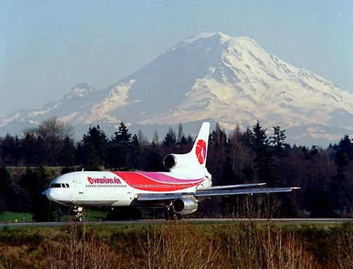 Hawaiian Air flew L-1011s with signature flower of the sky livery on Sea-Tac routes in the late 1980s