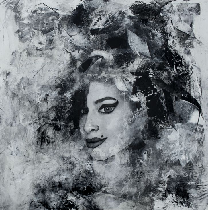 Original Mixed Media Painting of Amy Winehouse.