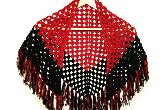 Handmade crochet black and red shawl, scarf with tassels, wool