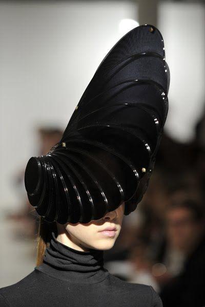 Futuristic Sci-fi Fashion - dramatic glossy black headpiece with architectural structure - 3D sculptural headpiece.