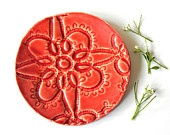 Red Ceramic Dish, Spoon Rest with Rustic Lace Pattern, Flower Ring Holder, Eco Friendly Wedding Decoration