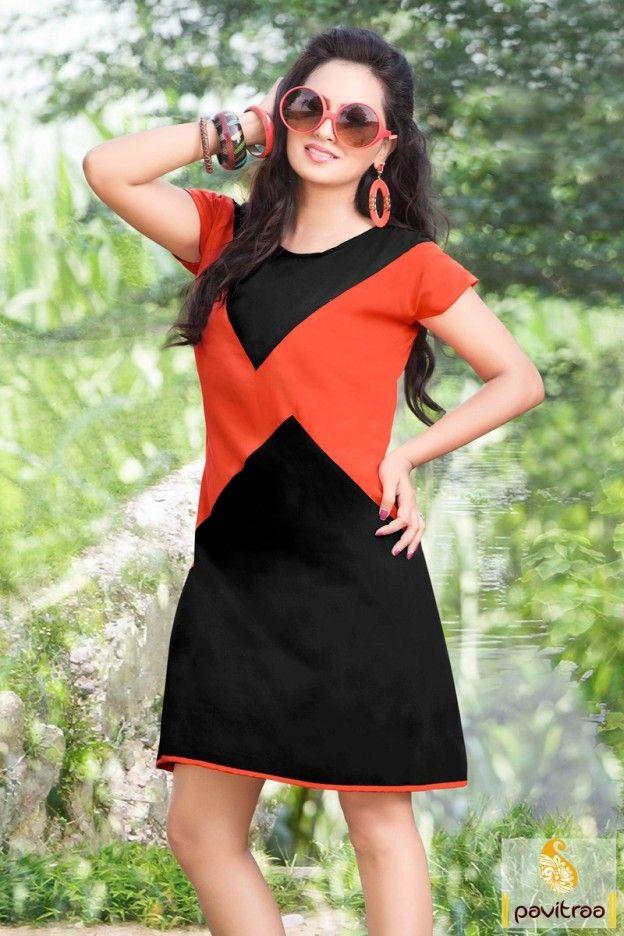 Modern style and newest designer this #orange and #black formal with causal #kurtis designed, fully plain and orange border pati patterns with heavy Alfino chiffon fabrics.