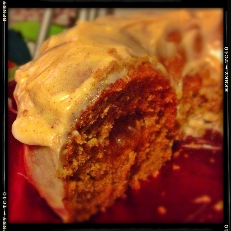 spice cake with a gooey apple center topped with a cinnamon cream ...