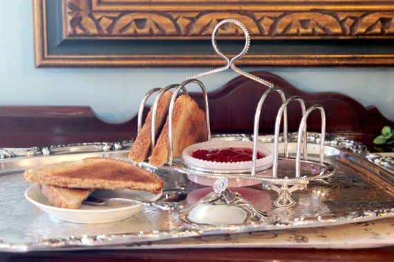 English Victorian Silver Plate Toast Rack & Glass Jam/Butter Dish with lid.