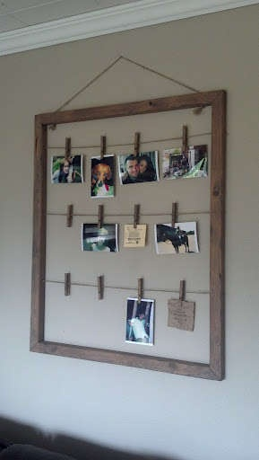Clothes Pin Photo Hanger tutorial from The Antique Craftsman at Instructables (via One Pretty Thing)