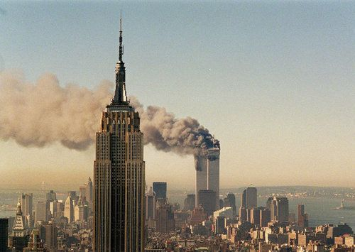 Empire State Building… and Last Moments of the WTC  Photo looking south down Manhattan past the ESB and down to the Twin Towers at what must have been about 9 a.m. on 9/11/2001. Like just about anyone, pics like this still freak me the hell out and bring me back to the moments I was watching this via TV and Internet.