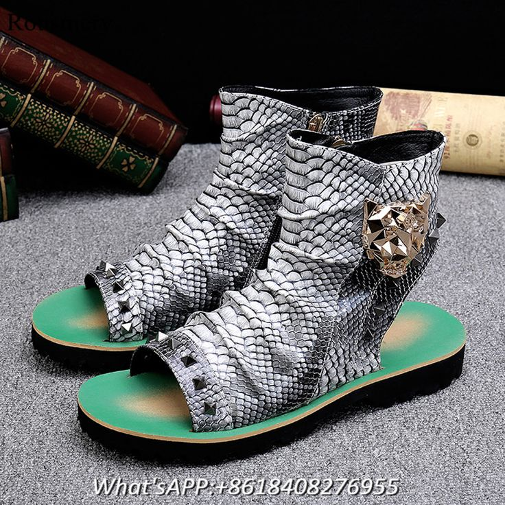 Sandals Men Buckle High Top Sandals Shoes Men Peep Toe Fashion Snake Leather Summer Shoes Man High Boots Rivet Men Beach Shoes