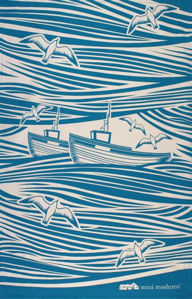 Whitby by Mini Moderns. This evocative, teal tea towel perfectly conjures up the wintery, windy, waves of Whitby. Approx 48cm x 76cm, 100% natural cotton,  £ 8.