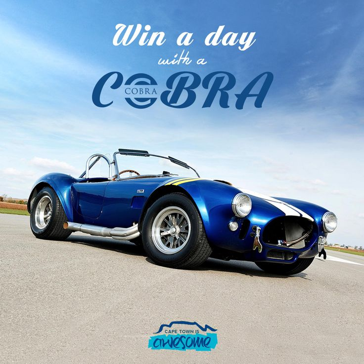 Enjoy Cape Town's most Scenic Drives in an Awesome AC Cobra. Imagine cruising Chapmans Peak Drive with the wind in your hair and the Roar of the Iconic Shelby Cobra Replica under you. King of the World!  Like this post and Click the pic to enter!