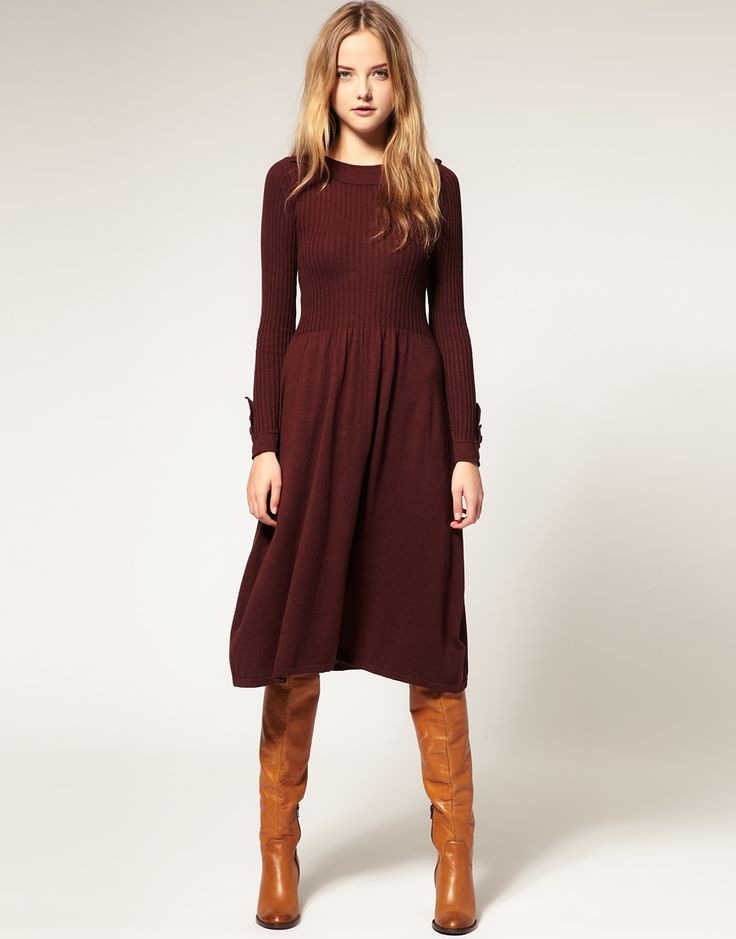 fall outfit inspiration | sweater dress and boots