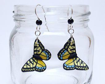 Geel zwart vlinder Dangle Earrings, Glaucus, Polymer Clay Cane, realistische natuur sieraden, unieke vrouwen cadeau