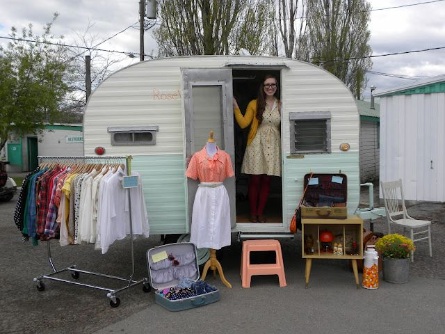 mobile camper vintage clothing pop up shop