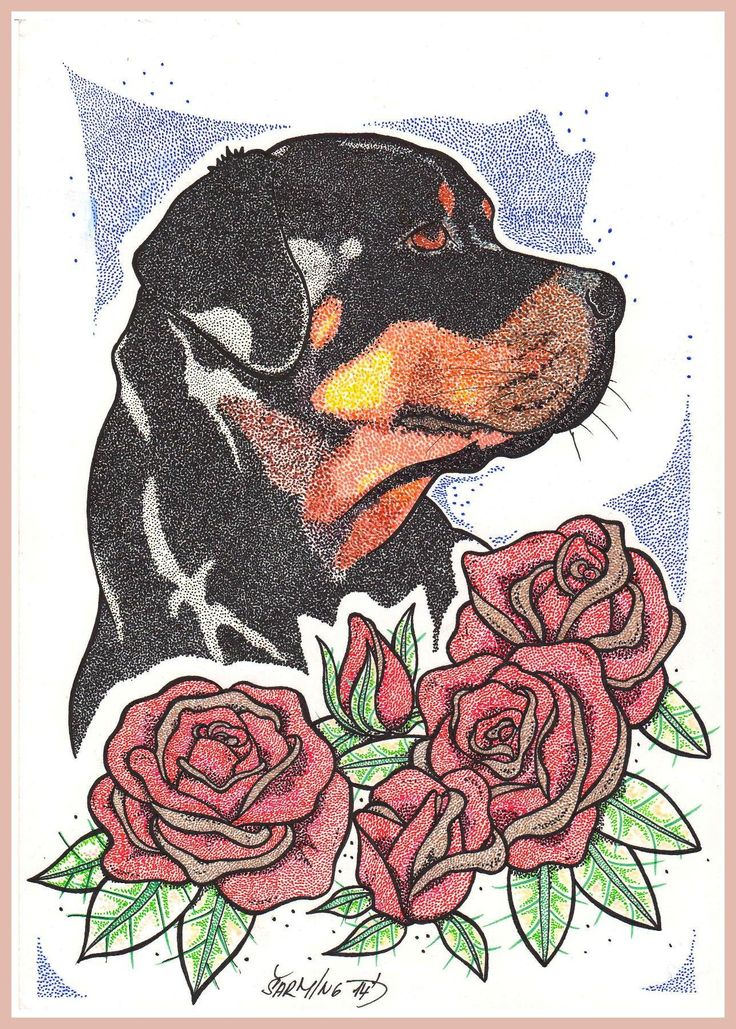 Rotweiler and Roses <3 dotwork by art Šarming