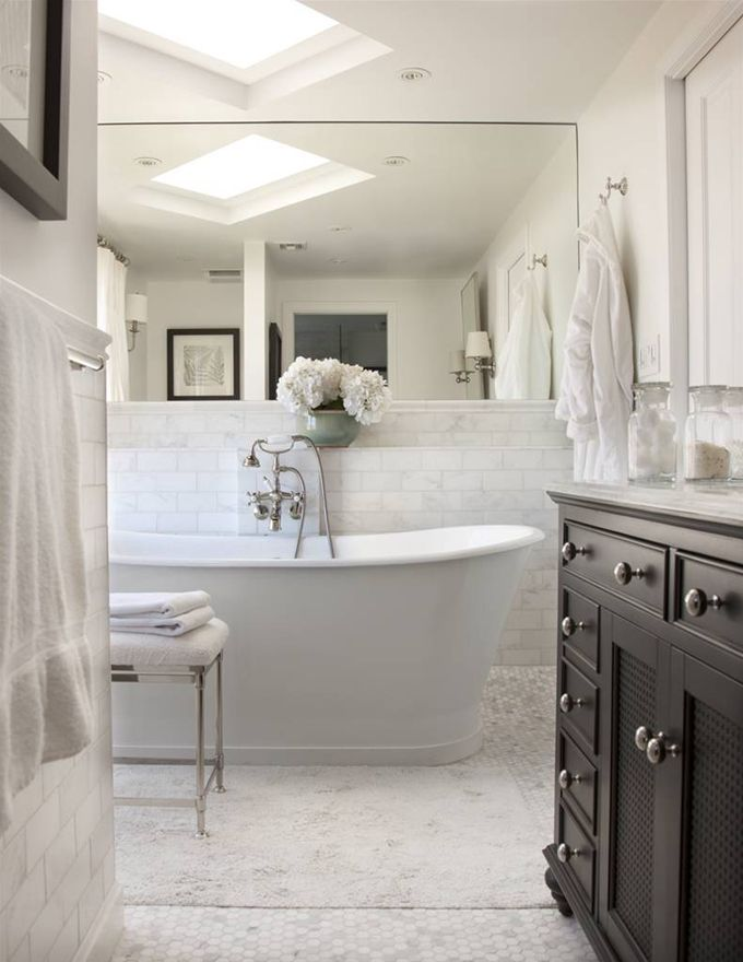 Beautiful Bathrooms interior image Beautiful Master Bath With Soaking Tub 1 Carrara Marble Hexagon Tiles Floor Marble Subway Tiles Shower Surround Ebony Stained Restoration Hardware French