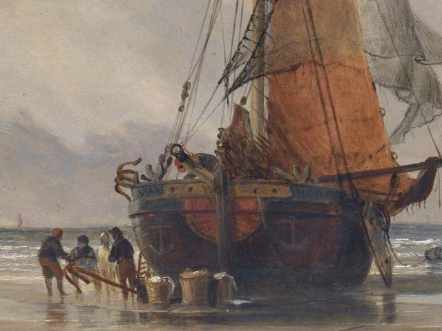 Edward William Cooke, RA (British, 1811-1880) Beached fishing vessel unloading its catch