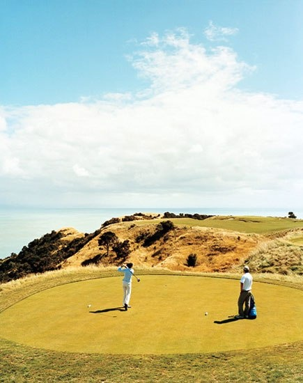 Hitting the links high above the Pacific at Cape Kidnappers.