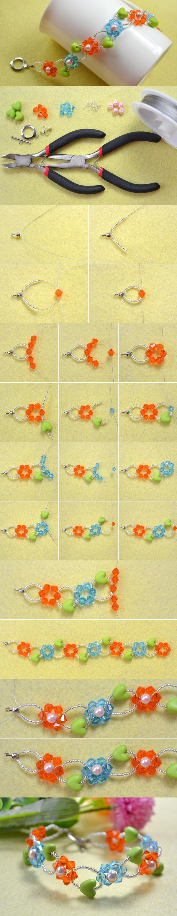 DIY Colorful Flower Beaded Bracelet with Heart Beads
