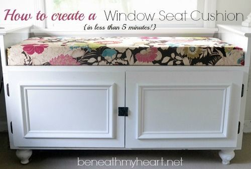 DIY {5 Minute} Window Seat Cushion! | Beneath My Heart... I just paid over $100 to have one made...and the zipper is on the wrong edge!!!! next time...doing it my self!