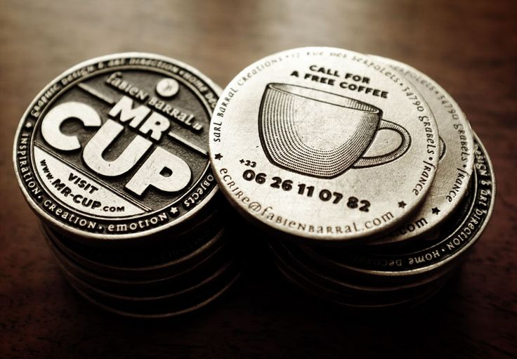 """For the Mr Cup card, I have to do better than letterpress printing... Issued at a very limited quantity, these """"coins"""" are my new business cards...    www.mr-cup.com"""