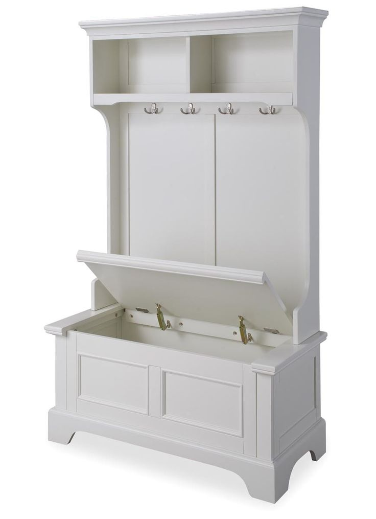 Features:  -Crown molding with contoured sides.  -Raised panel design.  -Storage bench has safety hinges and locks in the open position.  Finish: -Off White.  Material: -Manufactured wood. Dimensions: