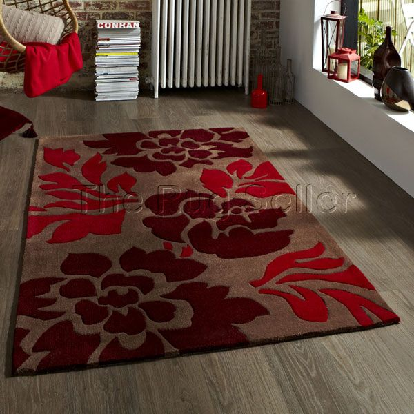 Hong kong rugs 33l brown red buy online from the rug seller uk - Modern Rugs - Hong Kong