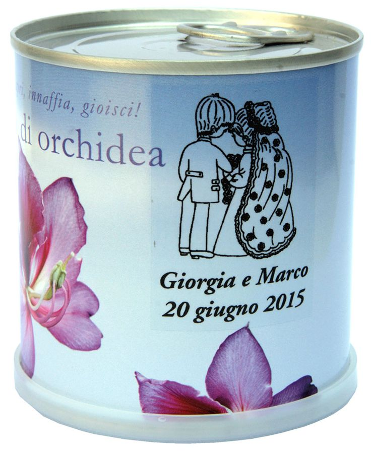 BOMBONIERE NATURALI PERSONALIZZABILI Mac Flowers Fiori in Lattina made in Germany.