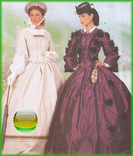 Butterick 6694 Civil War Era Ladies Day Dresses GWTW