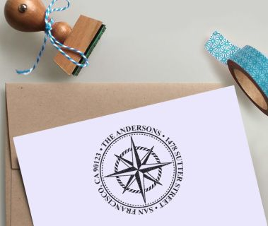 "Nautical Address Stamp in a circular design with Compass Rose Rubber stamp - size 1.5"" x 1.5"""