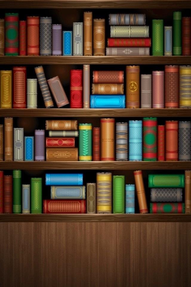 Bookshelf wallpaper iPhone Wallpapers Pinterest