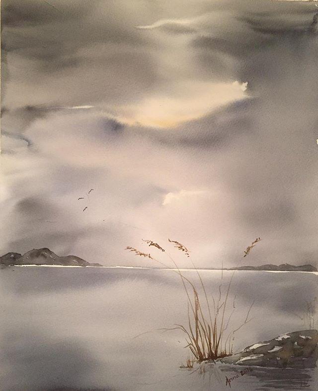 Ny målning. Kul att måla himlar men dags att måla nåt nytt kanske?! A lot of  fun painting skies but maybe it's time for something new!? #watercolour #watercolor #art #akvarell #sky #himmel #inspiring_watercolors #painting