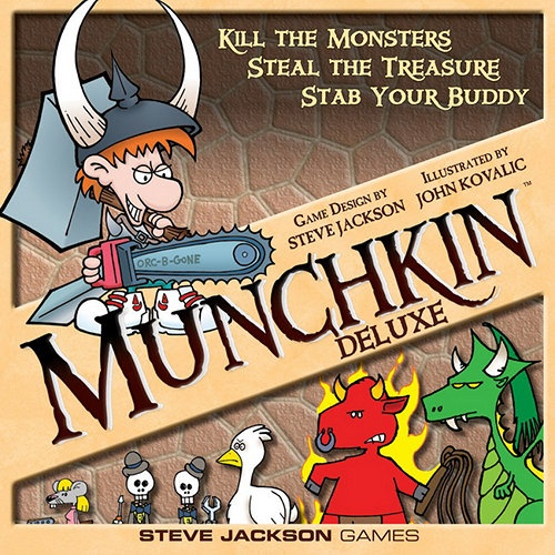 """Munchkin Deluxe Board Game: What makes this edition """"deluxe""""? It's got a big game board to keep your cards in place, and six colored pawns that you move on the game board as you level up.  http://www.calendars.com/Strategy-and-Adventure-Games/Munchkin-Deluxe-Board-Game/prod201300017318/?categoryId=cat430016=cat430016#"""