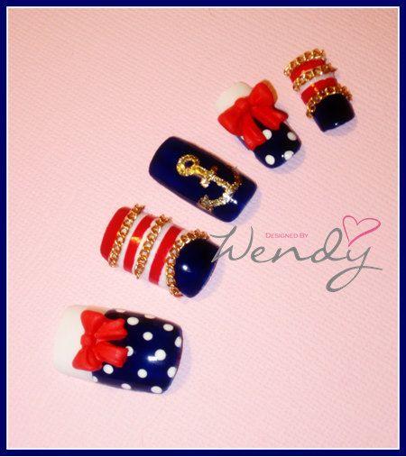 Ahoy Sailor! nails by KawaiiFactory on etsy