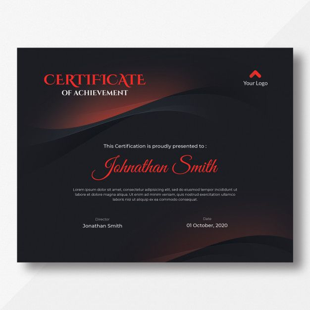 Dark Red And Black Waves Certificate Template Certificate Templates Certificate Design Template Templates