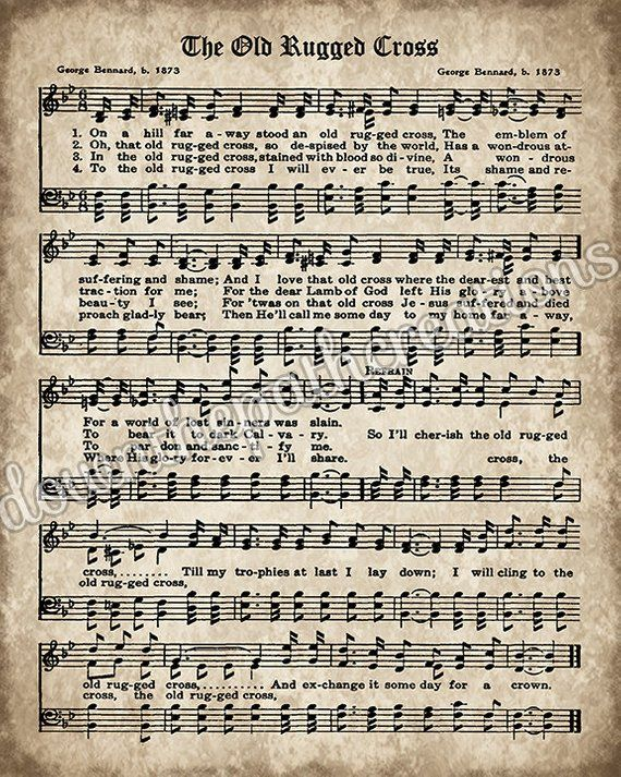 The Old Rugged Cross Print Printable Vintage Sheet Music