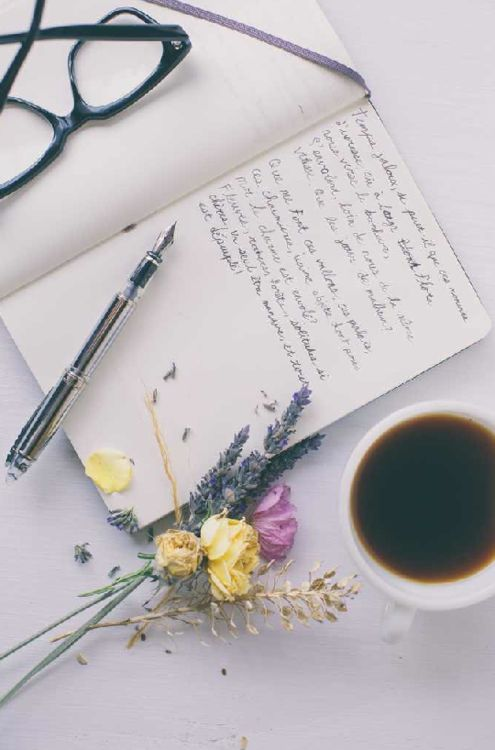 Let me just write in my journal in french while I sip my coffee and look at my fresh bouquet of wildflowers