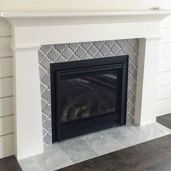Arabesque Tile Fireplace Surround Fireplace Remodel