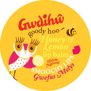Smoochy Honey & Lemon lip balm tins from Gwdihw- perfect for a Welsh hen party bag!