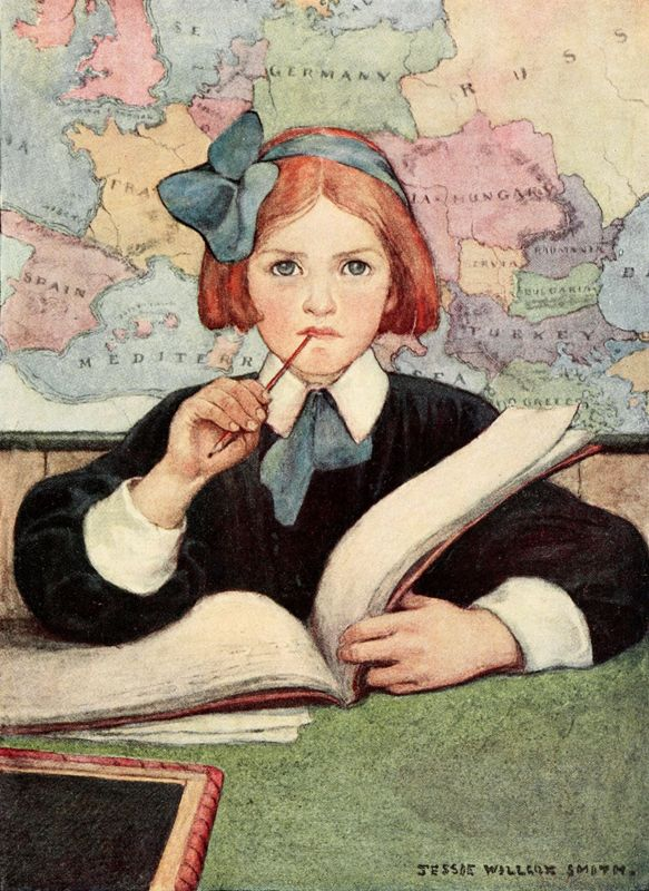 The Seven Ages of Childhood (1909) — The Scholar.  Jessie Willcox Smith (1863-1935)was an American illustrator whose impressive volume of work includes more than 60 books and almost 200 covers for Good Housekeeping.