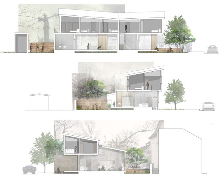 Soft, natural and warn photoshop renderings on these elevations, YSOA 2012 Vlock Building Project
