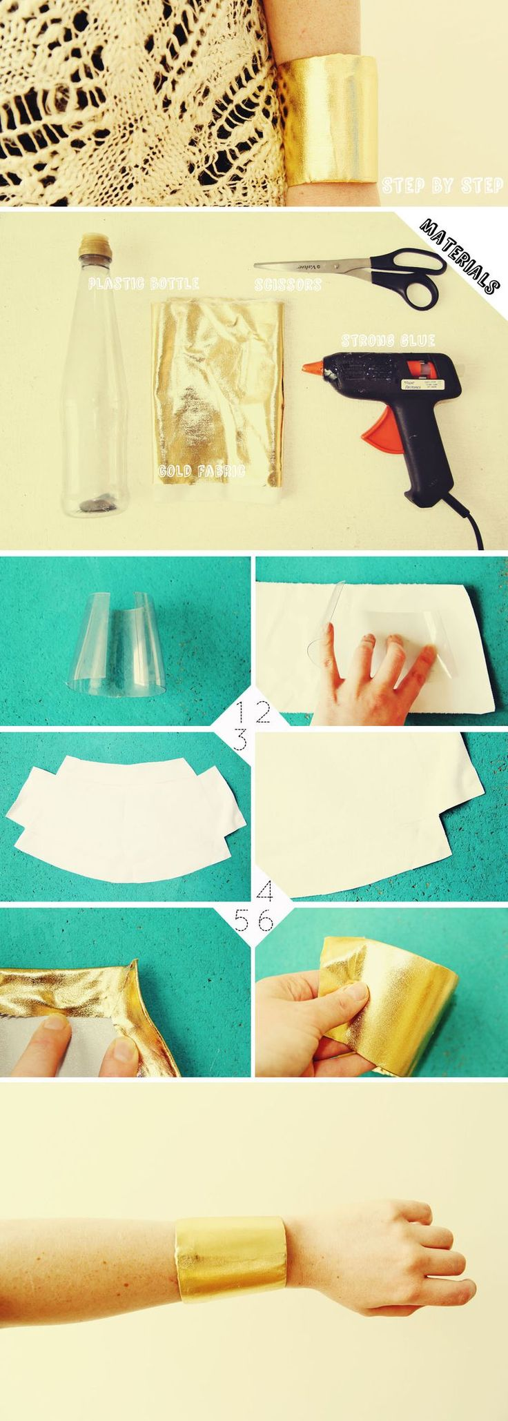 Gold Cuff DIY! - A plastic bottle for the base, gold fabric, scissors, strong glue.