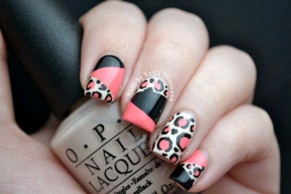 Nails by Kayla Shevonne: Leopard Print Colour Blocking Nails